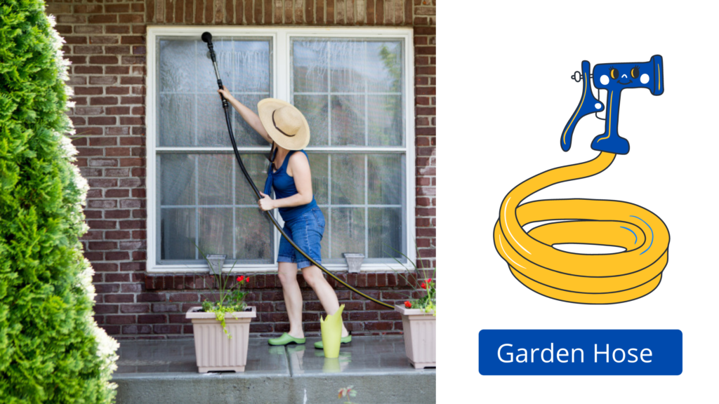 Use Garden Hose for Exterior Window Cleaning